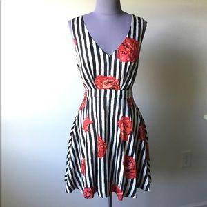 NWT ark & co. Black & White Striped Dress, Size S